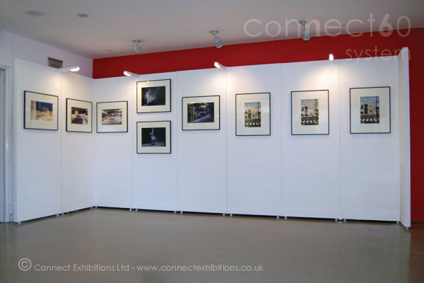 Wall Panels, Wall Panel, Wall Panelling showing a corner stand at the exhibition of <em>'The Association of Photographers'</em> in Sadlers Wells - London. (framed photographs)