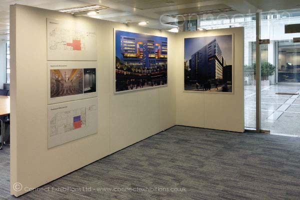 Temporary Walling, Temporary Walls, Temporary Wall in the exhibition space at the 'UBS Bank' in London, the architects created a gallery to show the building design. ( photographic images, architectural layouts, various materials)