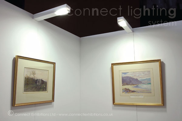 lighting system, lighting systems - the 'Connect Boxlight', a private exhibition, display boards with lighting to show works of fine-art. (water colours).
